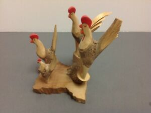 Vintage Carved Wooden Roosters Birds Statue Unique
