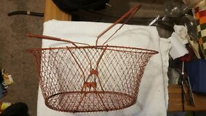 Antique French Wire Gathering Basket W Double Handles Farm Country