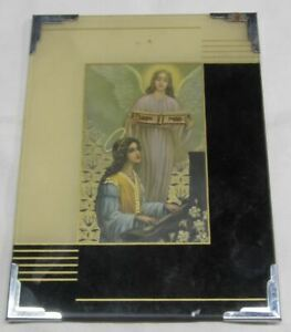 Vintage Art Deco Reverse Painted Picture Frame Religious Angelic Estate