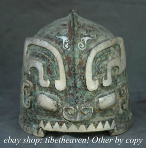 7 4 Old Chinese Bronze Ware Silver Dynasty Palace Ghost Face Helmet Casque Mask