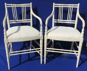 Beautiful Pair Vintage Faux Bamboo Wood Upholstered Dining Arm Chairs 5466