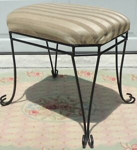Vintage Black Ornate Iron Beige Stripe Upholstered Bench Stool 4731