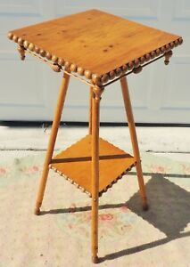 Antique Vtg 32 Beaded Solid Maple Turned Legs Side End Accent Table 5348