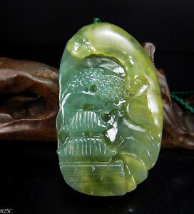 100 Natural Hand Carved Chinese Jade Pendant Jadeite Necklace Scenery 825c