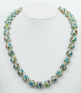 Antique Chinese Multicolor Enamel Bead Necklace W Silver Clasp 23