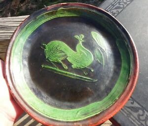 Antique Redware Slip Decorated Rooster Plate Green On Black