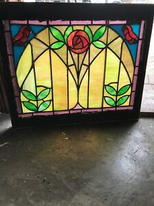 Sg 2884 Antique Deco Rose Stained Glass Window 22 5 X 27 25