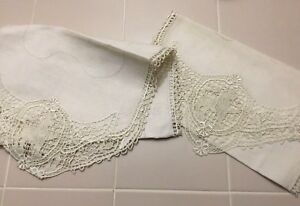 Beautiful Antique Fine Linen Table Runner Lot Hand Embroidered Cream Work
