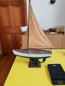 Antique Vintage Toy Model Wooden Pond Yacht Sail Boat Sailboat Ship 18 L X 29 H