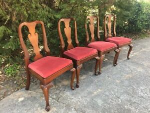 4 Henkel Harris Solid Cherry Queen Anne Style Dining Side Chairs