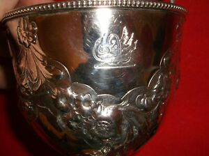 Antique Original English 1861 Solid Silver Basket Coiled Serpent