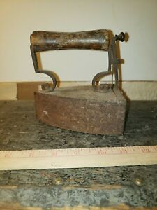Old Rare Antique Cast Iron Coal Clothes Steampunk Wooden Handle Stamped Htf