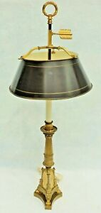 Antique French Gilt Bronze Figural Griffin Dolphin Tole Shade Bouillotte Lamp