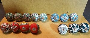 15 Vtg Art Deco Drawer Cabinet Knobs Pulls Handles Porcelain Beautiful