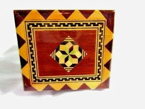Pretty Inlaid Small Ring Trinket Jewelry Box Made In Spain Varnished Wood Inlay