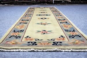 Immaculate Vintage Chinese 2 3 X11 Handknotted 100 Wool Rug Gm 636