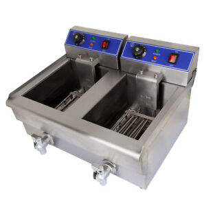 Commercial Dual Tank 20l 3600w Deep Fryer Kitchen Maker Electric Deep Fryer