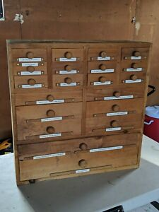 Vintage 20 Drawer Wooden Workshop Apothecary Storage Cabinet Handcrafted