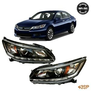 For 2013 2015 Honda Accord Black Headlights Set 2013 2014 2015