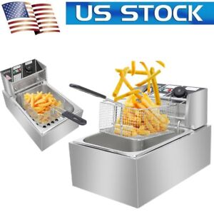 2500w 110v Stainless Steel Electric Deep Fryer Countertop Commercial Restaurant