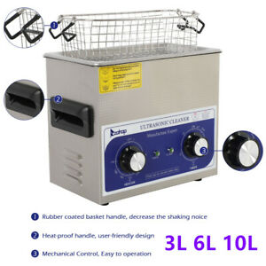 Stainless Steel Ultrasonic Cleaner 3l 6l 10l Liter Heater W timer Industry Labs