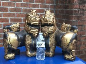 Antique Pair Chinese Buddhist Carved Wood Foo Dog Lion Statues Lacquer Gilt 15