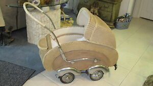 Antique Basket Streamline Wicker Carriage Stroller Baby Buggy