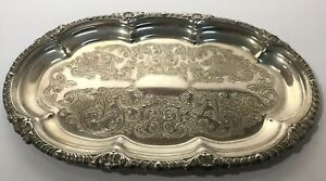 Vintage Silver Plated Small Oval Gallery Drinks Serving Tray Platter Ornate