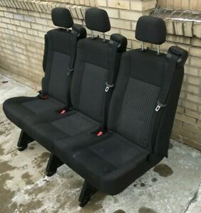 2015 18 Ford Transit Van 3 Person Couch Bench Seat Black Cloth