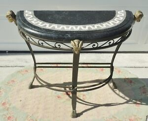 Vintage Figural Ram S Head Hoof Brass Marble Wrought Iron Demilune Console Table