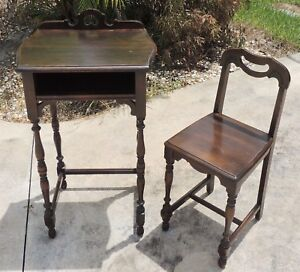 Antique Vtg Petite Child Or Sample Solid Mahogany Turned Writing Desk