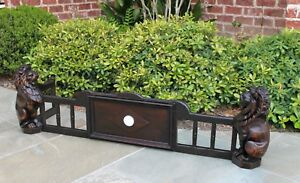 Antique English Oak Gothic Fireplace Fender Hearth Surround Lions Early 19th C