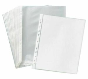 100 Clear Sheet Page Protectors Plastic Office Document Sleeves Non Stick New