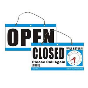 Open Closed Will Return Clock Sign 6 X11 5 Window Store With Time Hanging Chain