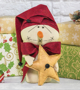 New Primitive Country Christmas 13 Big Bow Snowman With Gold Christmas Star