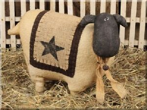 New Primitive Country Large Ivory Wooly Sheep Standing Figure W Rusty Bell