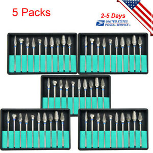 5set Tungsten Carbide Steel Dental Burs Burrs Lab Drill 2 35mm For Polishing us
