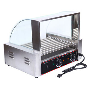 24 Hotdog Roller Commercial 8 Roller Grill Bread Hot Dog Machine Glass Hood