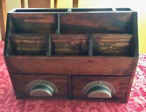 Vintage Pottery Barn Desk Top Organizer Caddy Slots Drawers Antique Dark Wood