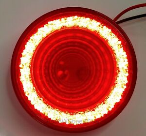 4 Round Led mirage Stop Turn Tail Light Red Led red Lens S t t