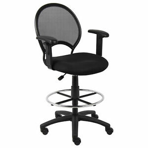 Mesh Back Drafting Stool With Adjustable Arms Lot Of 1
