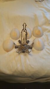 Antique Vintage Art Deco Slip Shade Chandelier Frame And 5 Slip Shades