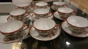 Set Of 9 Kutani Japanese Egg Shell Porcelain Cups And Saucers