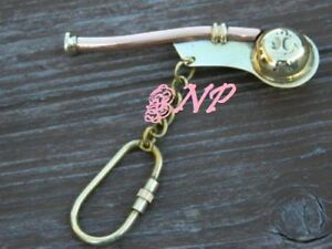Nautical Antique Brass Boatswain S Pipe Bosun Whistle 3 Inch Key Chain