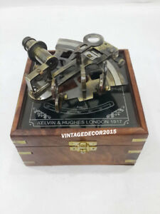 Nautical Kelvin Hughes Sextant Vintage With Wooden Box Office Decor