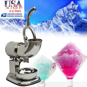 U Electric Stainless Steel Ice Shaver Machine Snow Cone Maker Shaved Ice Crusher
