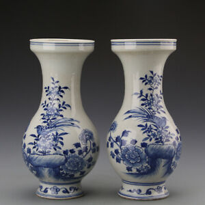 Chinese Antique Qing Blue White Birds And Flowers Pattern Porcelain Tank Pair