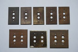 Lot Of 8 Antique Brass Push Button Light Switch Cover Plates