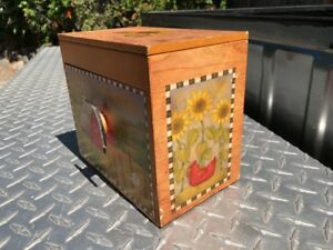 Vintage Recipe Box Recipe Stand Wood Box Farm Barn Rooster Small Wood Box Drawer