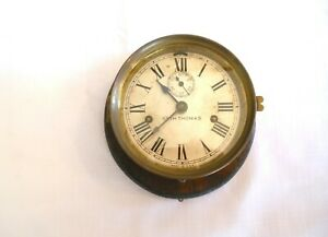Antique Mounted Brass Maritime Ships Clock By Seth Thomas Usa Working